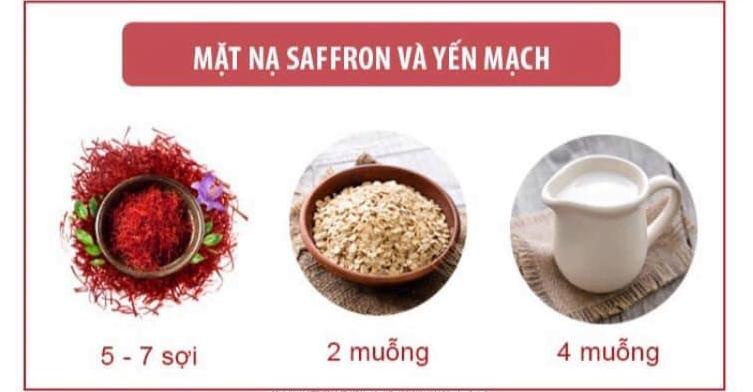 Mặt nạ nhụy hoa nghệ tây và bột yến mạch, sữa chua không đường