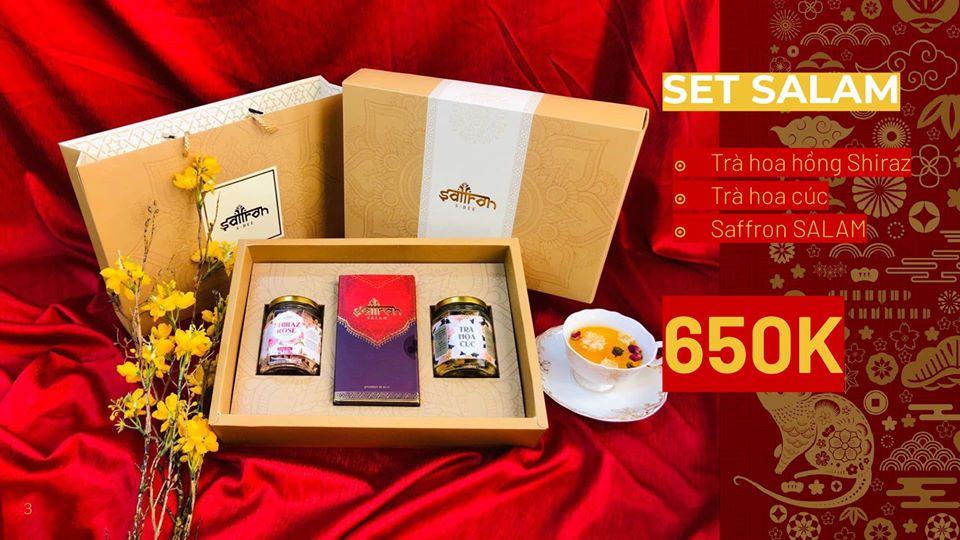 Quà Tết doanh nghiệp, quà Tết ý nghĩa gồm saffron Salam, trà hoa hồng, trà hoa cúc