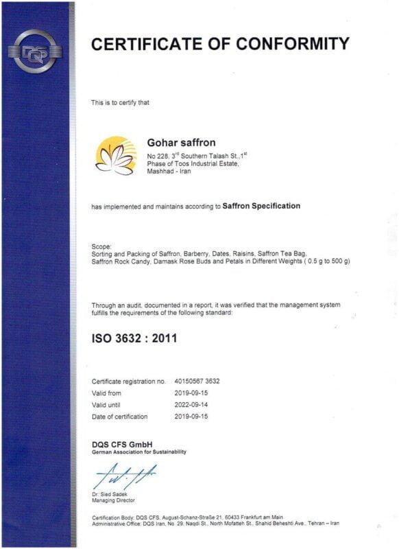 Giấy chứng nhận ISO 3632, độ tinh khiết của saffron nhụy hoa nghệ tây