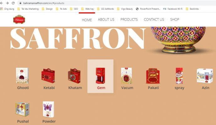 Saffron Bahraman chính hãng trên website của công ty Bahraman Iran
